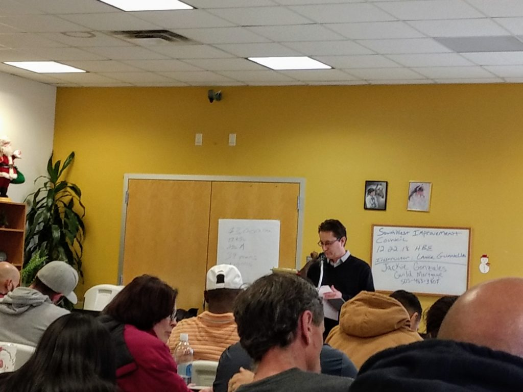 Lance Guanella leads a class for aspiring home buyers in Westwood. (Donna Bryson/Denverite)