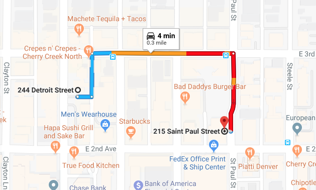 Google Maps driving directions from the original Aviano Coffee to the new Aviano Coffee. #NeverDrive