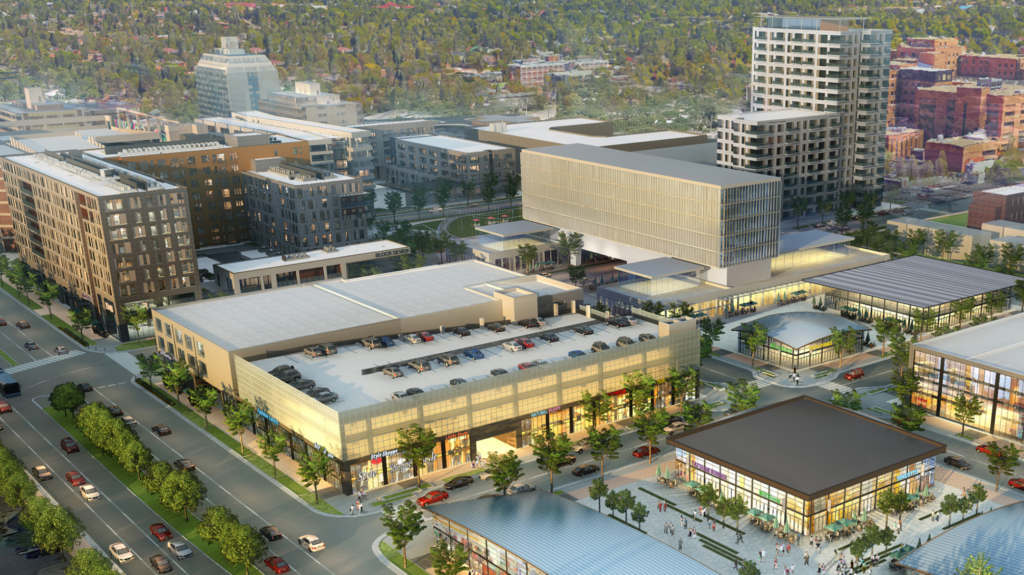 A rendering of the 9th and Colorado development includes the Bridge to the Future. Courtesy Continuum Partners