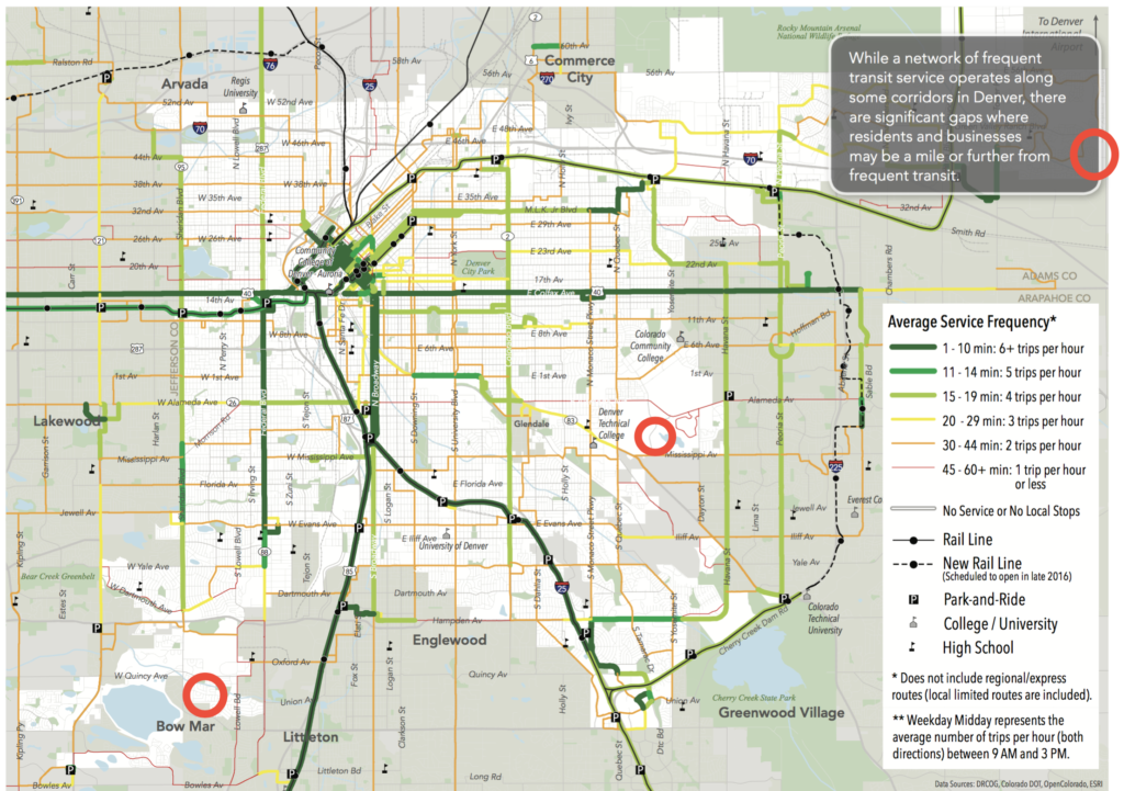 The three worst areas for transit in Denver. The red circles are ours. (City and County of Denver)