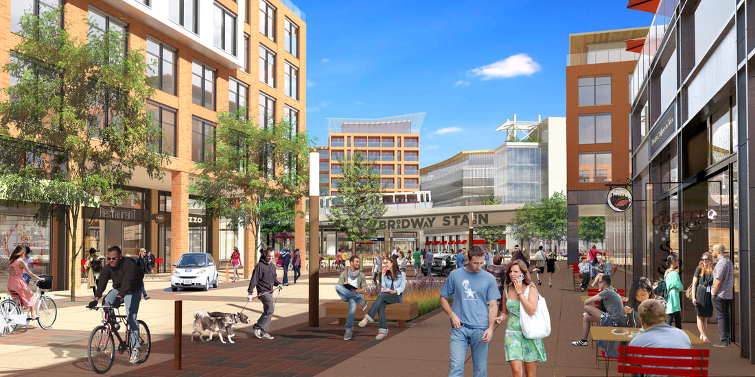 """A rendering depicting the vision for the """"midtown"""" district on South Broadway. (Broadway Station Partners)"""