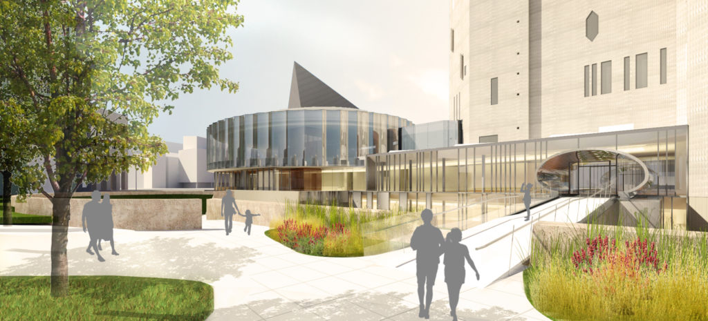 A rendering of the 14th Street entrance of the new Denver Art Museum building. (Courtesy Denver Art Museum)