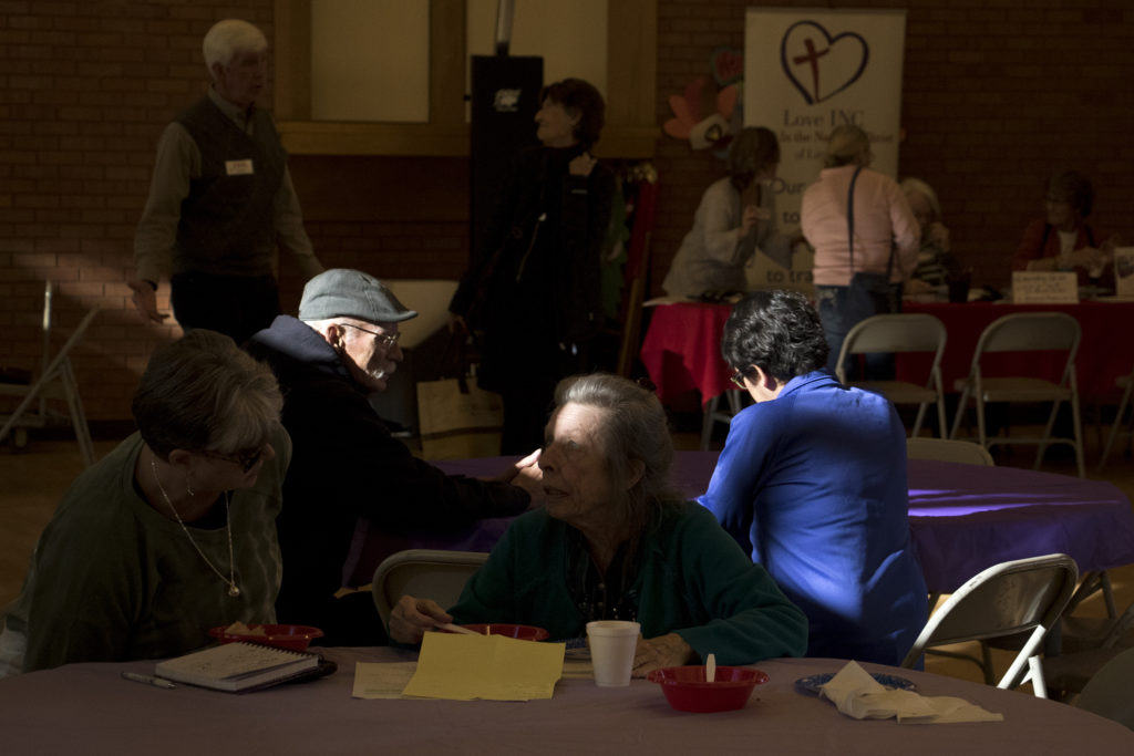 A meeting for former residents of the Windermere apartments across the street at Littleton United Methodist Church, Dec. 11, 2018. (Kevin J. Beaty/Denverite)