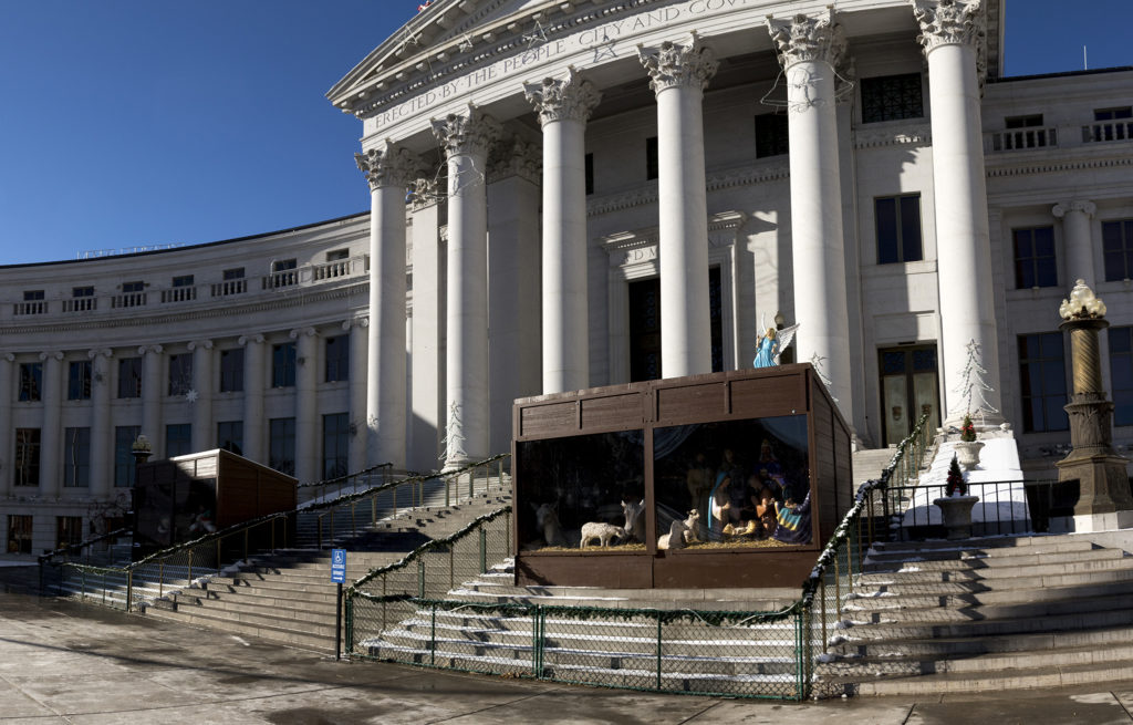 A nativity scene on the City and County Building steps, Jan. 2, 2018. (Kevin J. Beaty/Denverite)