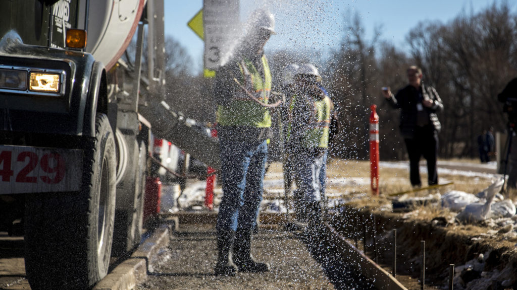 The first sidewalks of the 2017 GO bond funds are about to be poured in Bear Valley, Jan. 3, 2019. (Kevin J. Beaty/Denverite)
