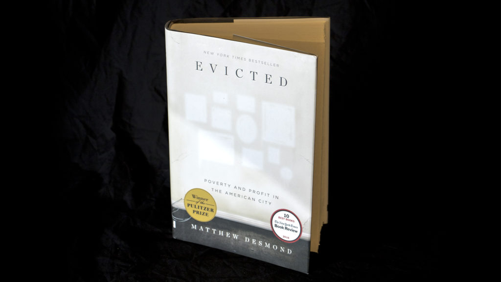 """""""Evicted"""" by Matthew Desmond, photographed in the Denverite newsroom. (Kevin J. Beaty/Denverite)"""