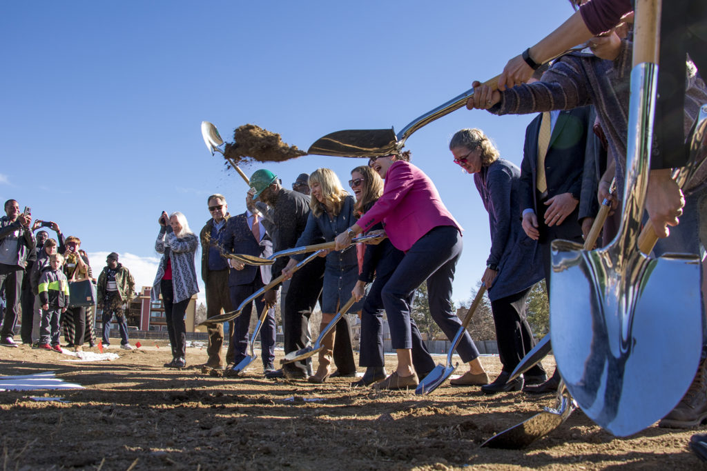 The Second Chance Center breaks ground on a new supportive housing project behind the Elevation Christian Church in Aurora, Jan. 4, 2018. (Kevin J. Beaty/Denverite)