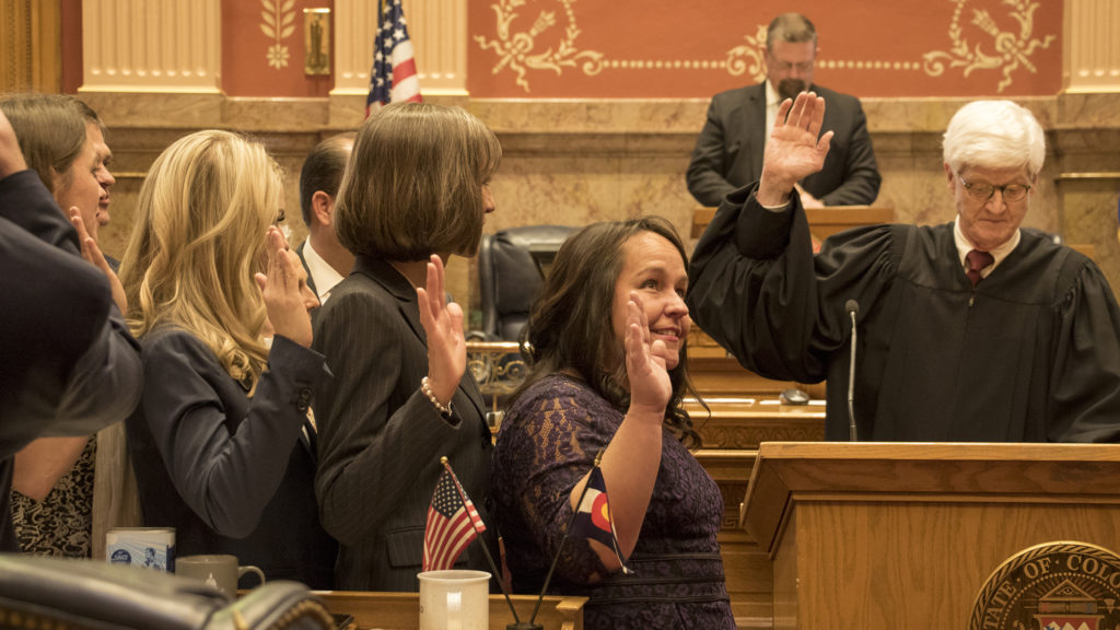 Colorado Chief Justice Nathan B. Coats swears a new class of state senators in on first day of the 2019 legislative session, Jan. 4, 2018. (Kevin J. Beaty/Denverite)