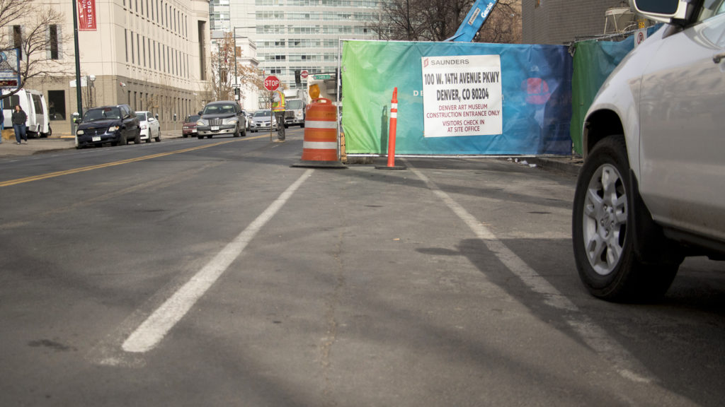 A Bannock Street bike lane is blocked by construction on the Denver Art Museum, Jan. 9, 2018. (Kevin J. Beaty/Denverite)