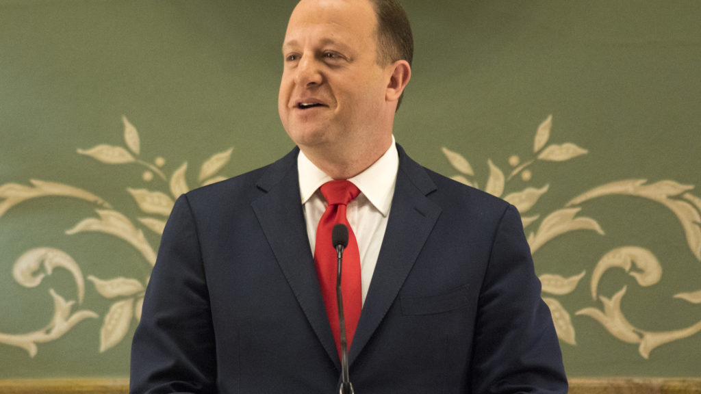 Governor Jared Polis gives his first State of the State address, Jan. 10, 2019. (Kevin J. Beaty/Denverite)