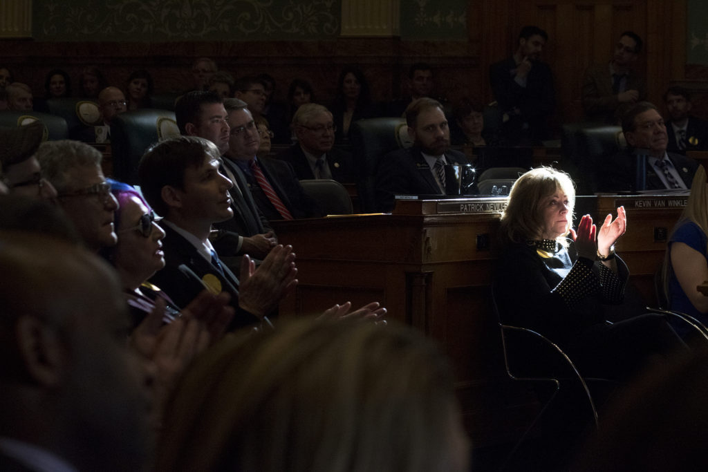 Lieutenant Governor Dianne Primavera applauds during Jared Polis' first State of the State address, Jan. 10, 2019. (Kevin J. Beaty/Denverite)
