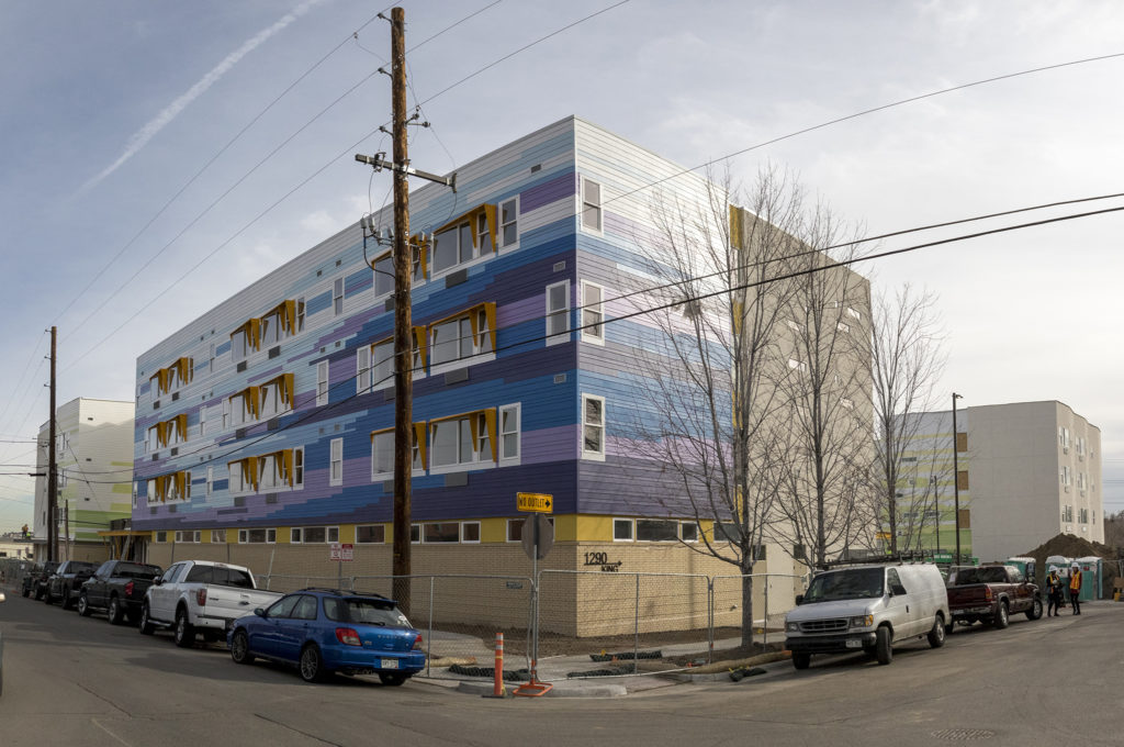 The Delores Project's new homeless shelter and supportive housing at Arroyo Village in West Colfax is nearly complete, Jan. 10, 2018. (Kevin J. Beaty/Denverite)