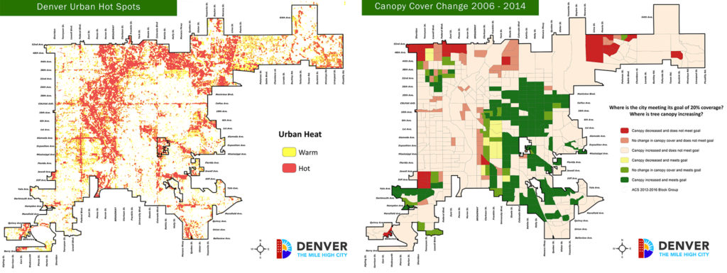 Two maps, one showing heat island effect hotspots and another showing tree canopy expansion in Denver. (Courtesy: Denver Parks and Recreation)