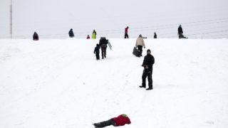Ruby Hill is a sledding run on a snowy day, Jan. 12, 2019. (Kevin J. Beaty/Denverite)