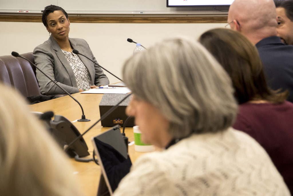 Katina Banks, chair of Denver's Citizen Oversight Board, speaks in a Safety, Housing, Education, & Homelessness Committee meeting on expanded powers for the Office of the Independent Monitor, Jan. 16, 2019. (Kevin J. Beaty/Denverite)
