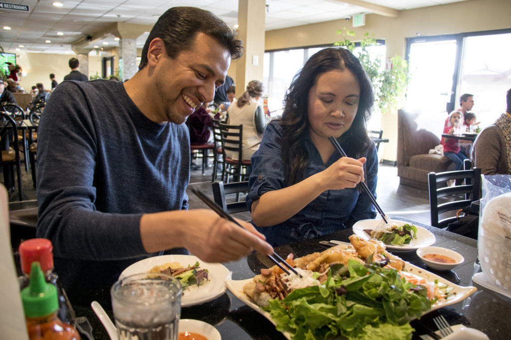 NgaVuong-Sandoval and her husband, Kevin, eat at Saigon Bowl in Federal Boulevard's Far East Center, Jan. 20, 2019. (Kevin J. Beaty/Denverite)
