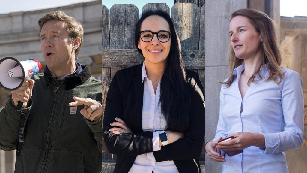 U.S. Senate candidates Mike Johnston (left to right), Lorena Garcia and Trish Zornio. (Kevin J. Beaty/Denverite and Courtesy: Lorena Garcia)