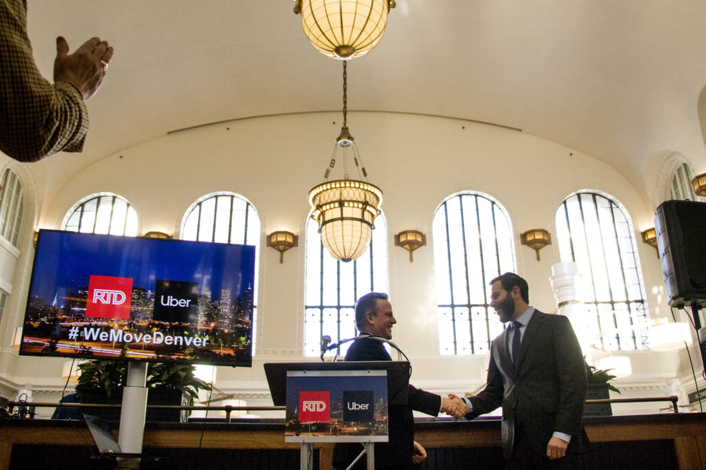 RTD General Manager and CEO David Genova (left) and Uber Head of Transit David Reich hold a joint press conference at Union Station, Jan. 31, 2019. (Kevin J. Beaty/Denverite)