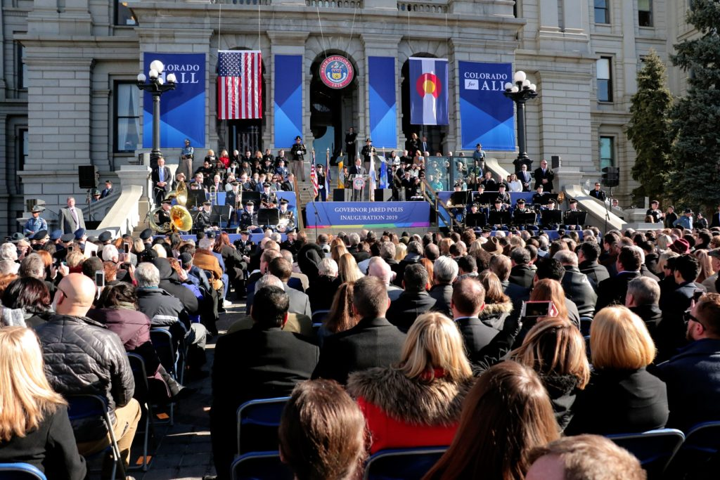 Jared Polis is inaugurated as Governor of Colorado on the steps of the State Capitol. Jan. 8, 2019. (Kevin J. Beaty/Denverite)