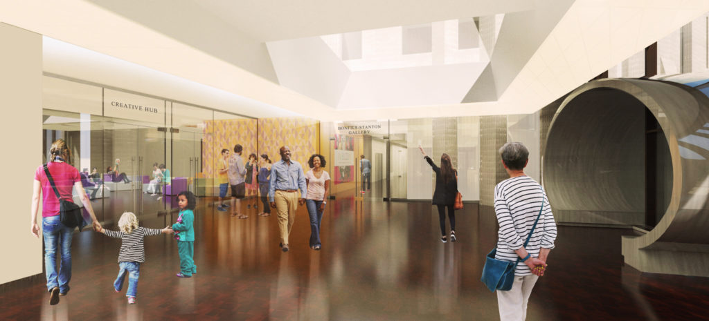 A rendering of the entrance to the Creative Hub in the Denver Art Museum's new North Building. (Courtesy of Denver Art Museum)