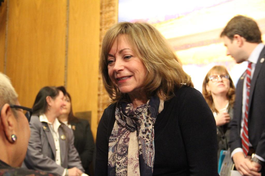 Lt. Gov. Dianne Primavera before the start a press conference on healthcare on Wednesday, Jan. 23, 2019, at the Capitol. (Esteban L. Hernandez/Denverite)