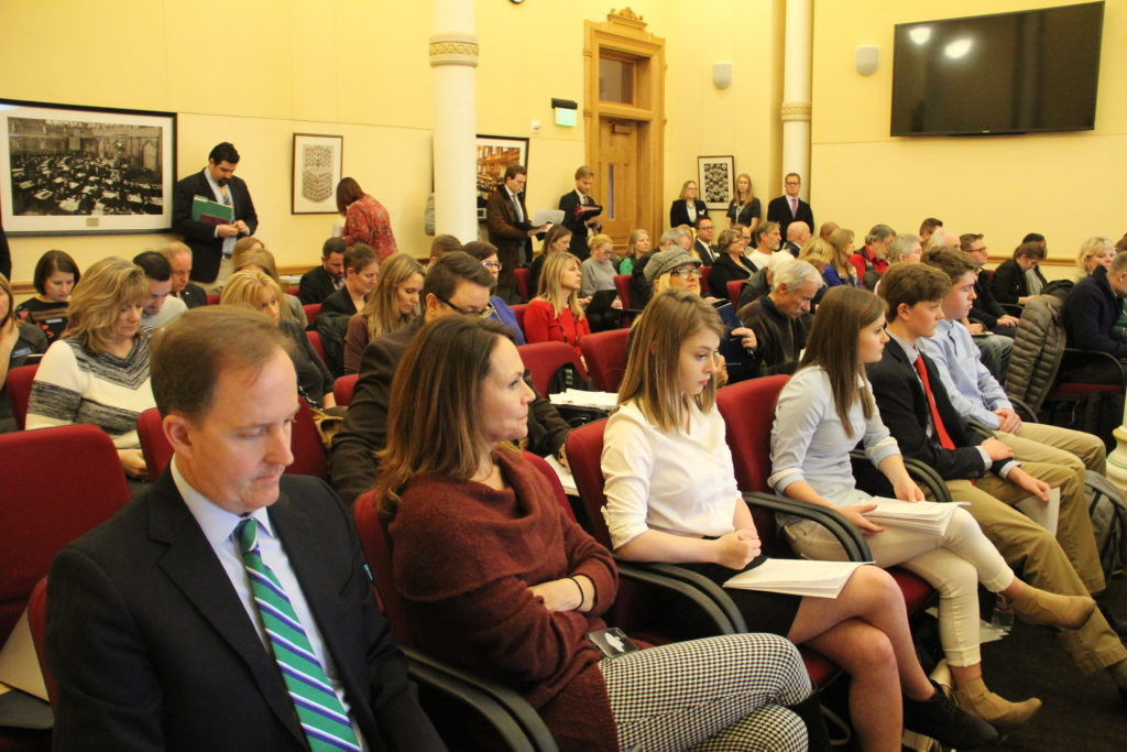 Attendees including Students for Safer Driving at a Senate Transportation & Energy committee meeting on Thursday, Jan. 24, 2019, at the Capitol. (Esteban L. Hernandez/Denverite)