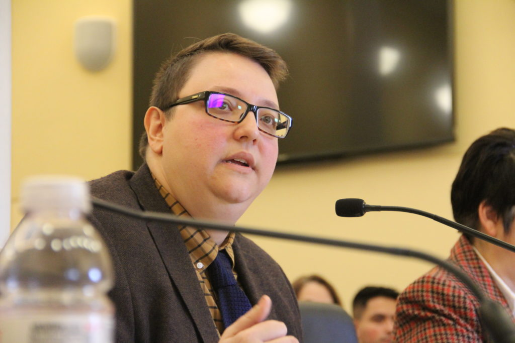 Tristan Gorman, of the Colorado Criminal Defense Bar, testifies during a Senate Transportation & Energy committee meeting on Thursday, Jan. 24, 2019, at the Capitol. (Esteban L. Hernandez/Denverite)