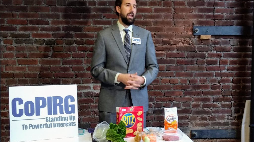 Danny Katz, director of the CoPIRG Foundation, at a Jan. 18 news conference about food safety. (Donna Bryson/Denverite)