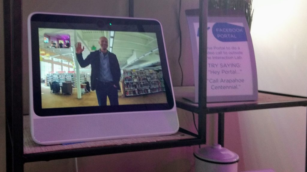 Arapahoe Libraries Executive Director Oliver Sanidas on the screen of a Facebook Portal in the Interaction Lab, an exhibition at the Southglenn branch on  strategies to make homes comfortable and accessible for all ages and abilities. (Donna Bryson/Denverite)