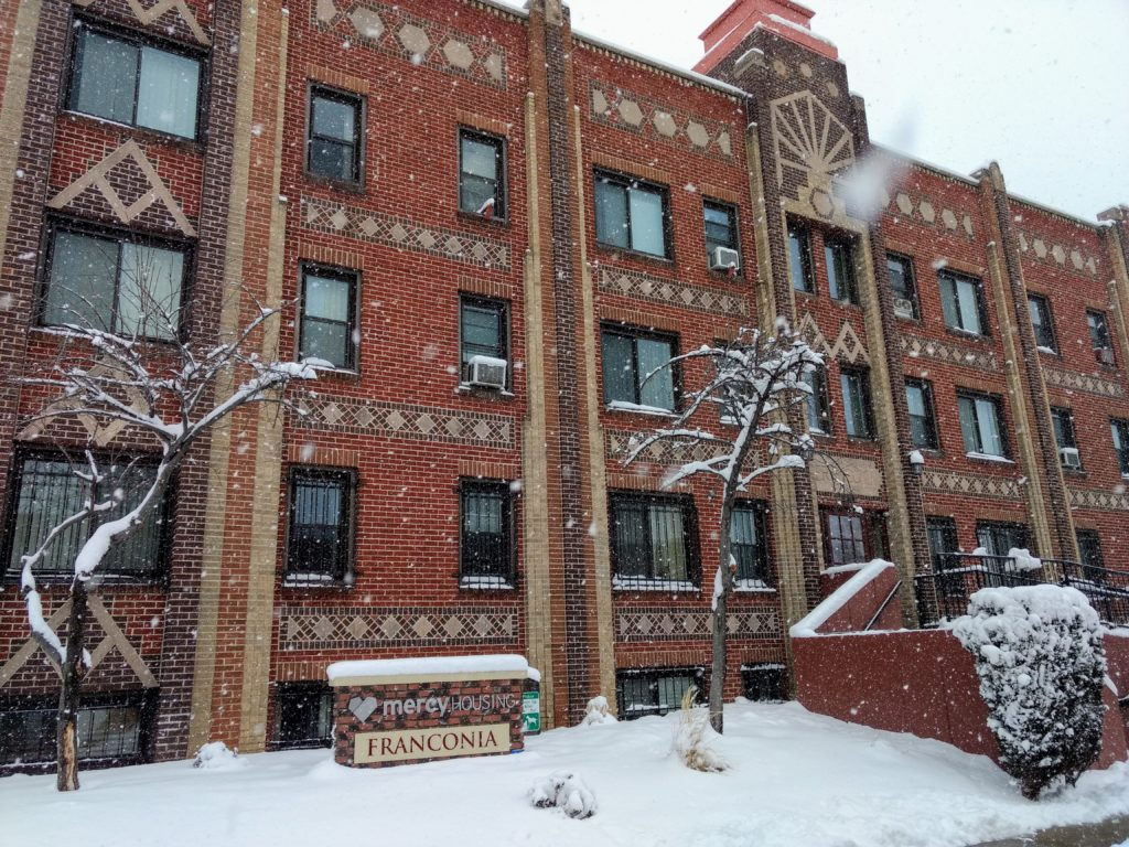 The Franconia, built in 1927, has 54 subsidized units for tenants who are age 62 and older or have a disability. Mercy bought the Capitol Hill building in 2001. (Donna Bryson/Denverite)