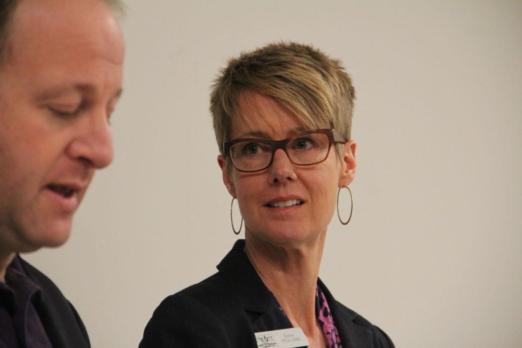 Food Bank of the Rockies CEO Erin Pulling during a press conference at the food bank's warehouse on Monday, Jan. 28, 2019, in Denver. (Esteban L. Hernandez/Denverite)
