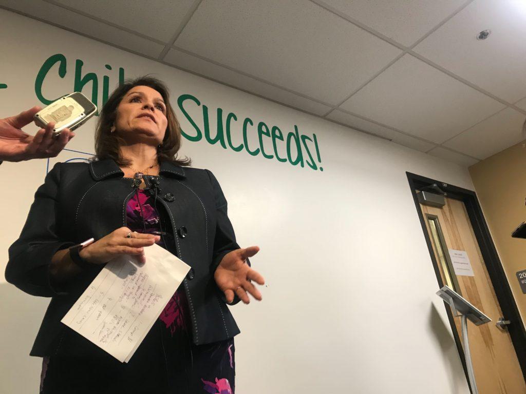 Denver Superintendent Susana Cordova during a press conference on Friday, Jan. 18, 2019, at the Acoma Campus in Denver. (Esteban L. Hernandez/Denverite)