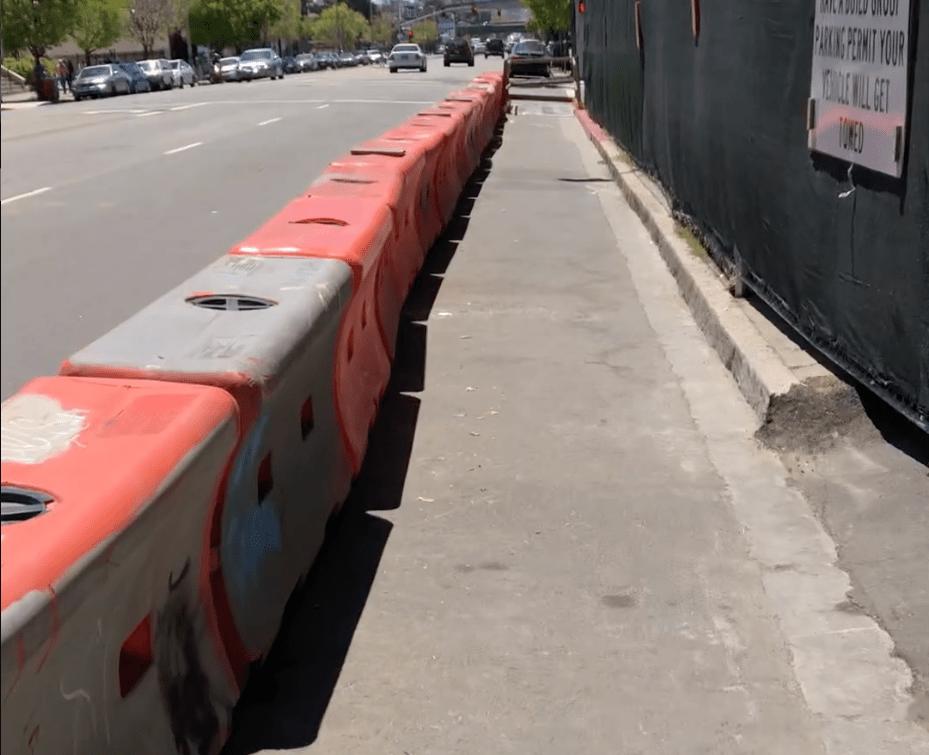 A temporary walkway along Telegraph Avenue in Oakland. (Courtesy, David Sachs)