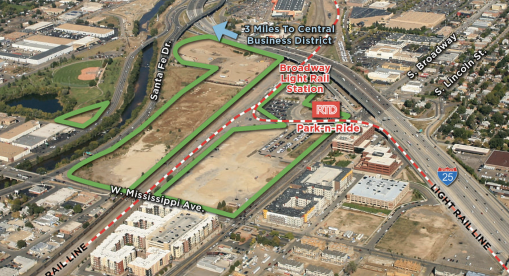 The developer bought the land east of the train tracks at Broadway and Mississippi. (Broadway Station Partners)