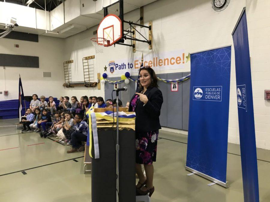 Susana Cordova addresses students at Barnum Elementary School on Jan. 7, her first day as Denver superintendent. (Melanie Asmar/Chalkbeat)