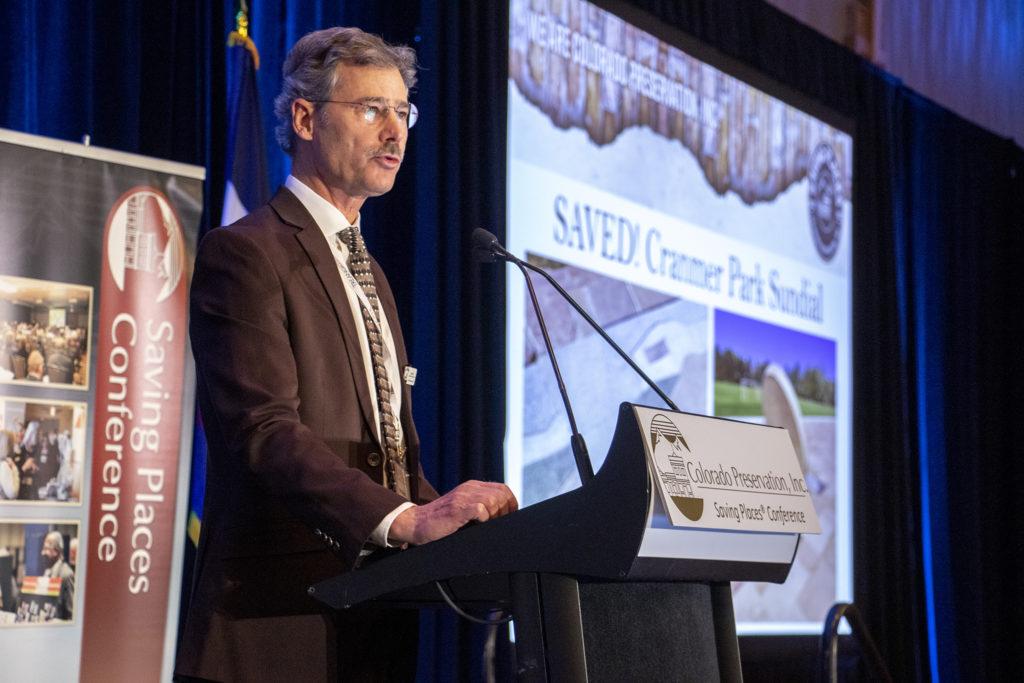 Kim Grant, Endangered Places program director at Colorado Preservation, Inc., speaks at the organization's 2019 Saving Places Conference, Feb. 5, 2019. (Kevin J. Beaty/Denverite)