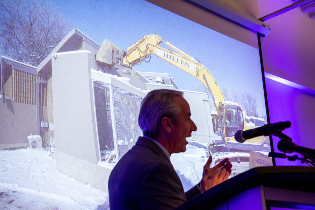 Denver Zoo President and CEO Bert Vescolani speaks as workers break ground on a new animal hospital on the zoo's campus, Feb. 7, 2019. (Kevin J. Beaty/Denverite)