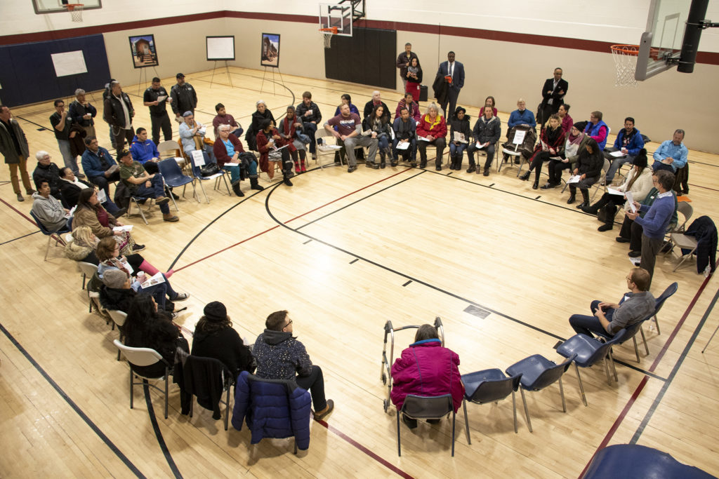 Globeville residents meet with representatives from the city and the Beloved Community tiny home village, Feb. 7, 2019. (Kevin J. Beaty/Denverite)