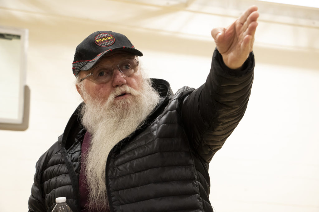Dave Oletski speaks as Globeville residents meet with representatives from the city and the Beloved Community tiny home village, Feb. 7, 2019. (Kevin J. Beaty/Denverite)