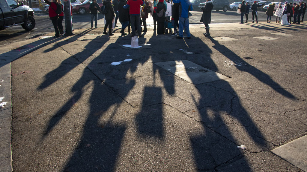 Kepner Beacon Middle School teachers picket on Federal Boulevard on day one of the Denver teachers' strike, Feb. 11, 2019. (Kevin J. Beaty/Denverite)