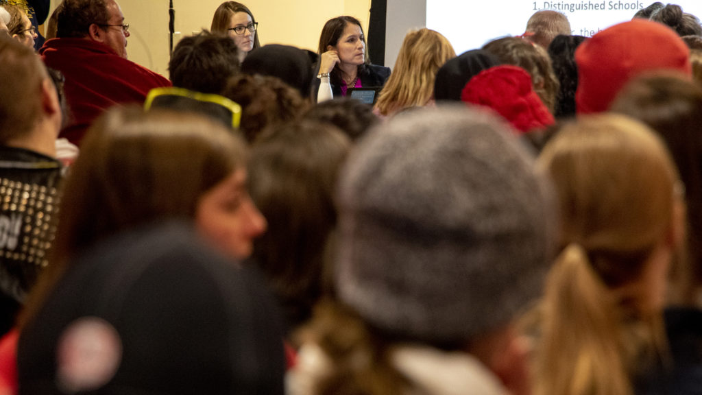 Denver Public Schools Superintendant Susana Cordova sits in a packed room during negotiations with Denver's teachers union at the Denver Public Library, Feb. 12, 2019. (Kevin J. Beaty/Denverite)