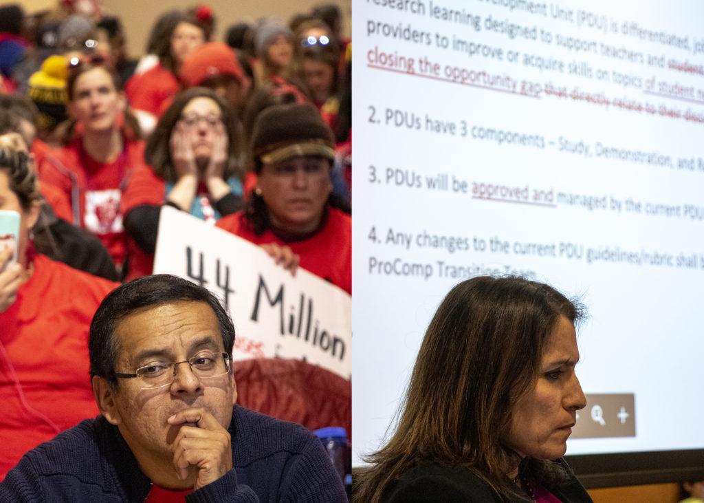 Denver Classroom Teachers Association President Henry Roman (left) and Denver Public Schools Superintendant Susana Cordova during negotiations at the Denver Public Library, Feb. 12, 2019. (Kevin J. Beaty/Denverite)