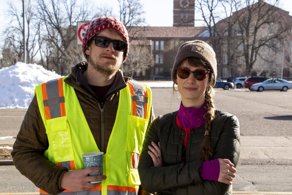 South High School teachers Kurt Scheumann and Moira Casados Cassidy pose for a portrait on day two of the Denver teachers strike, Feb. 12, 2019. (Kevin J. Beaty/Denverite)