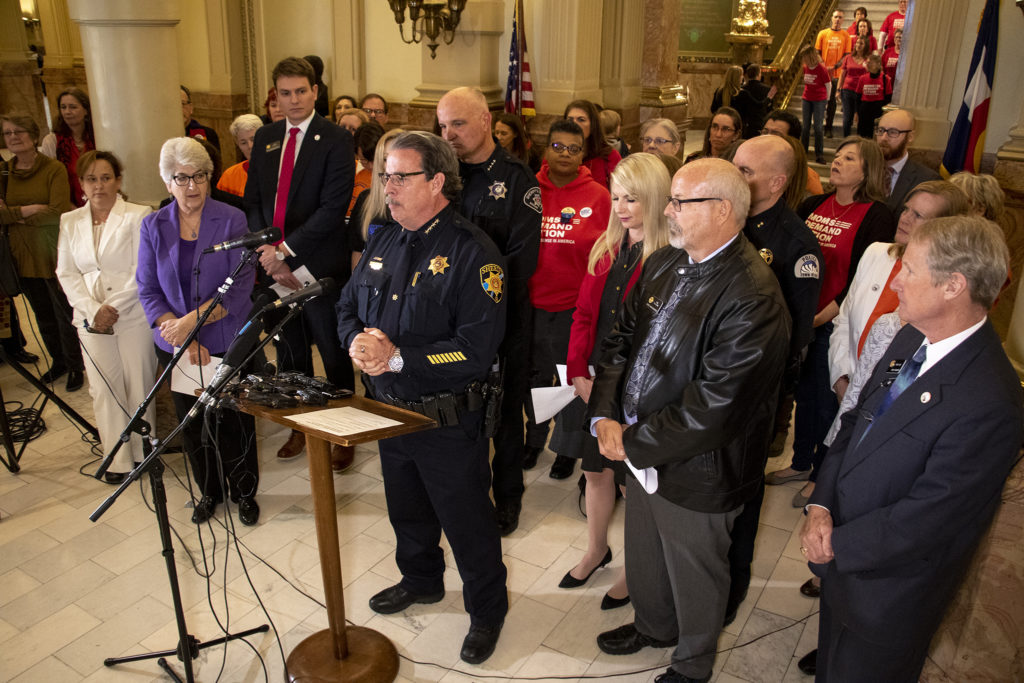 """Douglas County Sheriff Tony Spurlock speaks during a press conference for a """"red flag"""" bill that's being introduced in the state legislature, Feb. 14, 2019. (Kevin J. Beaty/Denverite)"""