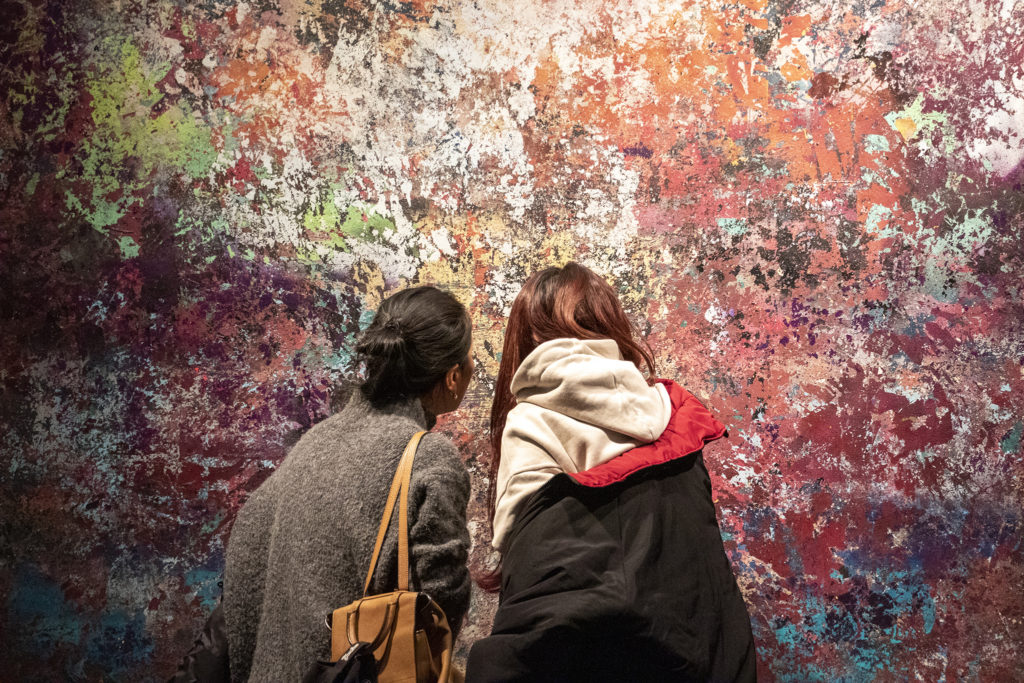 Yaxin Luo (right) and her mom, Liyan, inspect art by Andrew Jensdotter at the Museum of Contemporary Art, Feb. 15, 2019. (Kevin J. Beaty/Denverite)