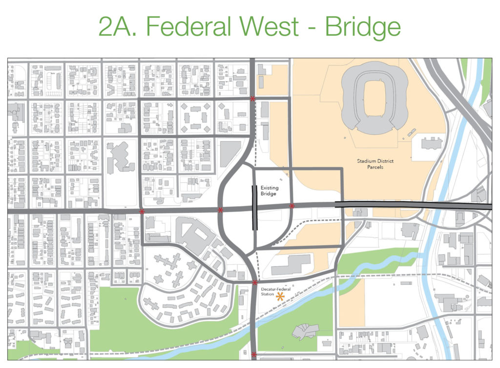 """A map of a possible Federal Boulevard reroute that would leave the existing bridge to become an elevated """"linear"""" park. (Courtesy: Jordan Block and the West Colfax BID)"""
