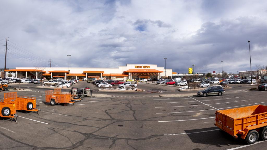 Baker's Home Depot and its parking lot, Feb. 28, 2019. (Kevin J. Beaty/Denverite)