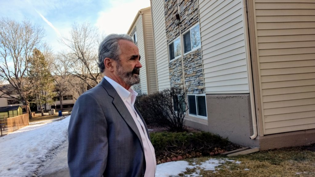Rocky Mountain Communities CEO and President Richard Taft at the Garden Court Apartments. (Donna Bryson/Denverite)