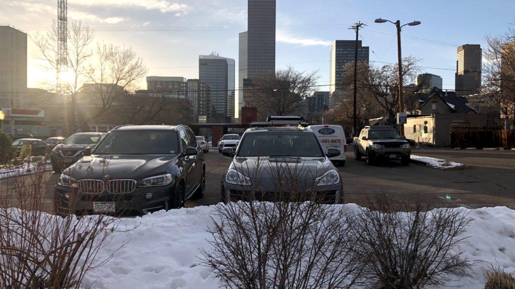 A parking lot with a view. (David Sachs/Denverite)
