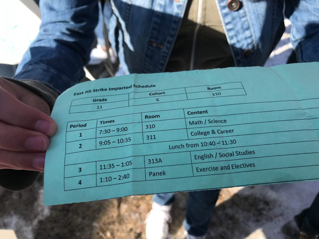 A schedule handed to an East High School student on the first day of a teachers strike. (Esteban L. Hernandez/Denverite)